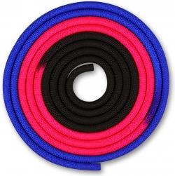 Скакалка гимнастическая INDIGO сине-розовый-черный