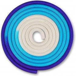 Скакалка гимнастическая INDIGO бело-синий-фиолетовый